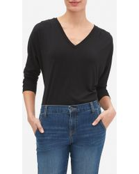 faf1137035d59 Lyst - Banana Republic Factory Wrap-tie Blouse in Black