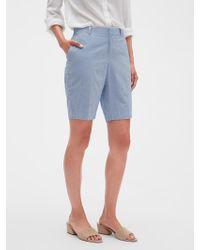 Banana Republic Factory Tailored Seersucker Bermuda Shorts - 10 Inch Inseam - Blue