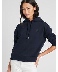 Banana Republic Factory Logo Fleece Hoodie Sweatshirt - Blue
