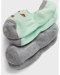 Banana Republic Factory Croissant Print Ped Socks (2 Pack) - Green