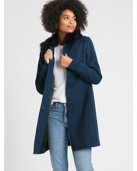 Banana Republic Factory Tailored Coat With Faux Fur Collar - Blue