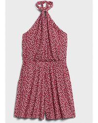 Banana Republic Factory Knit Halter Romper - Red