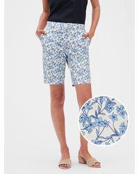 Banana Republic Factory Tailored Floral Print Bermuda Shorts - 10 Inch Inseam - Blue