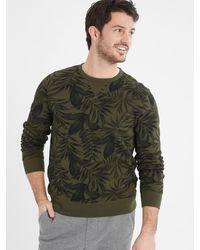 Banana Republic Factory Soft Fleece Printed Crew-neck Sweatshirt - Green