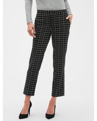 Banana Republic Factory Petite Avery Menswear Grid Tailored Ankle Pant - Black