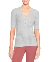Banana Republic Factory - Elbow Sleeve Henley Sweater - Lyst