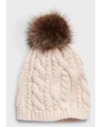 Banana Republic Factory Cable Knit Pom Beanie - Pink