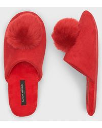 Banana Republic Factory Pom Slippers - Red