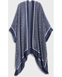 Banana Republic Factory Crinkle Indigo Ikat Wrap - Blue