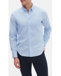 Banana Republic Factory Slim-fit Untucked Oxford Shirt - Blue