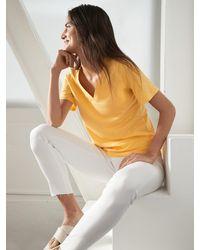 Banana Republic Factory Malibu Slub V-neck T-shirt - Yellow