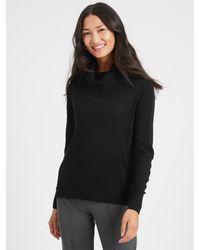 Banana Republic Factory Petite Cowl-neck Sweater Match Back - Black