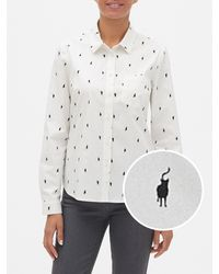 Banana Republic Factory Untucked Cat Print Classic Shirt - White