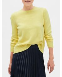 Banana Republic Factory Petite Lofty Crew Neck Sweater - Yellow