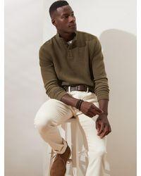 Banana Republic Factory Button Mock-neck Birdseye Fleece Sweatshirt - Multicolor