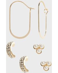 Banana Republic Factory Small Dainty Earrings (3 Pack) - Metallic