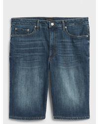 Banana Republic Factory Curvy High-rise Dark Wash Denim Shorts - 10 Inch Inseam - Blue