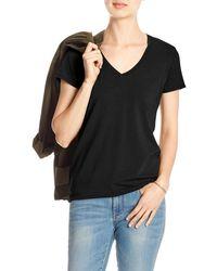 Banana Republic Factory Timeless V-neck T-shirt - Black