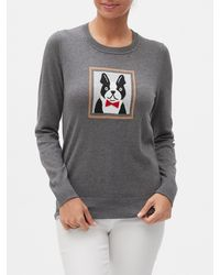 Banana Republic Factory Dog Crew-neck Sweater - Gray