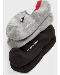 Banana Republic Factory Wine N Cheese Print Ped Socks (2 Pack) - Gray