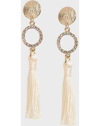 Banana Republic Factory Pave Tassel Earrings - White