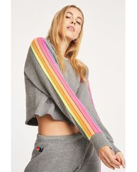 Aviator Nation Bolt Cropped Classic Crew - Gray