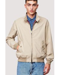 Baracuta G9 Suede Mod Harrington Jacket - Stone - Natural