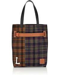 Loewe - Leather-trimmed Patchwork Plaid Tote Bag - Lyst