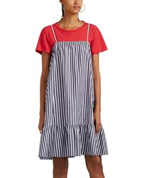 ATM - Striped Cotton Poplin Tent Dress - Lyst