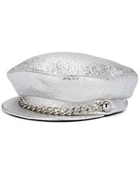 Eugenia Kim Marina Crinkled-leather Chauffeur Cap - Metallic