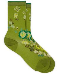 Antipast Floral-print Cotton-blend Mid-calf Socks - Green
