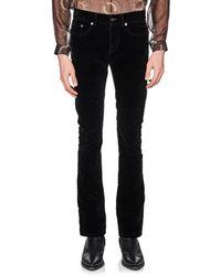 Saint Laurent - Cotton-blend Velvet Flared Jeans - Lyst