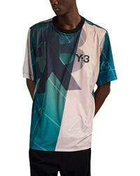 Y-3 Abstract-print Soccer Jersey - Blue