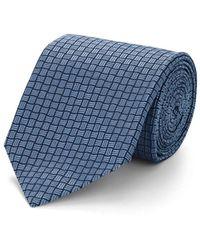Isaia Geometric-pattern Silk Jacquard Necktie - Blue