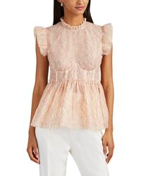 Brock Collection Ruffle Floral-lace Bustier Peplum Top - Pink