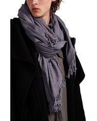 Rick Owens Virgin Wool Fringed Blanket Scarf - Blue