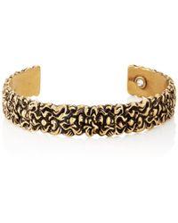 Gucci - Engraved Lion Mane Metal Cuff Bracelet - Lyst