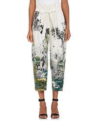 Alberta Ferretti - Jungle-print Cotton-blend Crop Trousers - Lyst