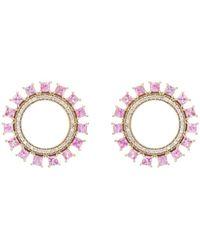 Ileana Makri Glimmer Sun Stud Earrings - Pink