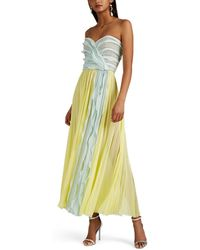 J. Mendel - Silk Plissé Chiffon Cocktail Dress - Lyst