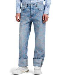 Valentino Logo Cuffed Jeans - Blue