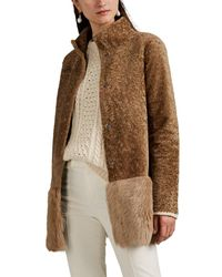 Barneys New York Shearling Peplum Coat - Brown