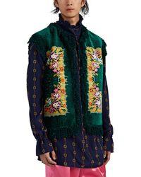 Gucci Fringed Floral Chenille & Basket-weave Vest - Green