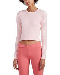 Live The Process Rib-knit Open-back Sweater - Pink