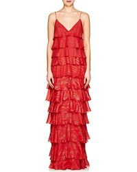 J. Mendel - Metallic Striped Silk-blend Gown - Lyst