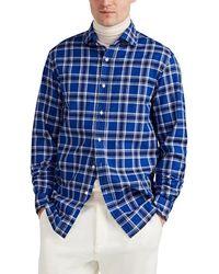 Ralph Lauren Purple Label Plaid Cotton & Linen Shirt - Blue