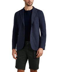 Eleventy Laser-cut Stretch-cotton Piqué Two-button Sportcoat - Blue