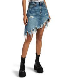 R13 Denim Asymmetric Miniskirt - Blue