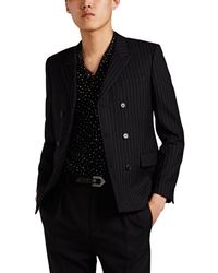 Saint Laurent Pinstriped Wool Double-breasted Sportcoat - Black