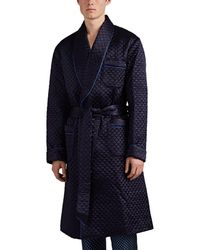 Barneys New York Quilted Satin Robe - Blue